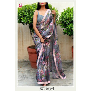 Georgette With Digital Print And Blue Satin Lace Saree Grey