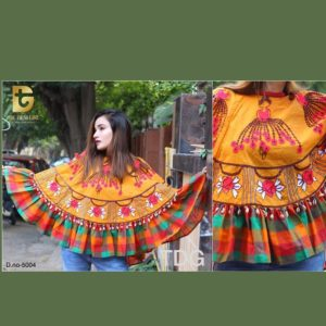 Colorful Embroidered ponchos For Women-Yellow