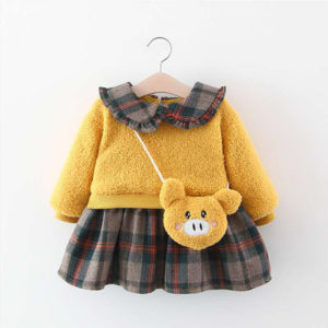 Warm Dress for Girls with Sling Bag 1