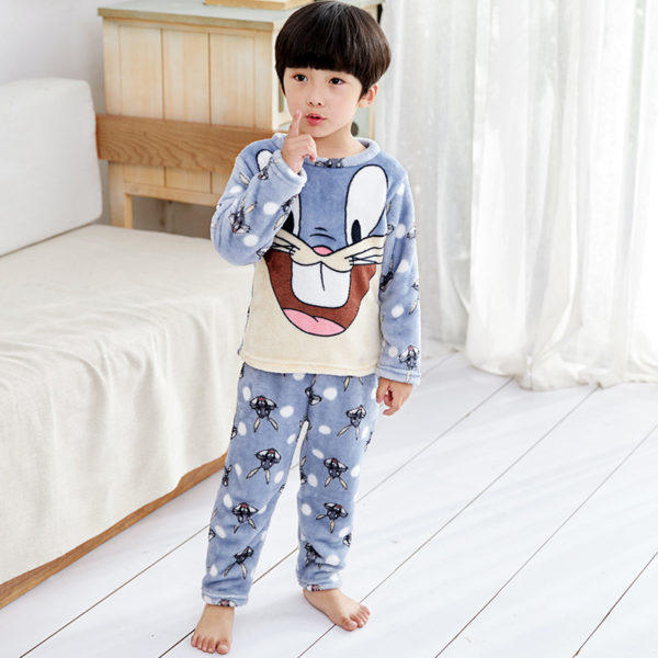 Kids Imported Nightwear Suit (2 To 8 Years) - Grey