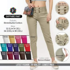 Trendy Stretchable Sapphire Pant For Women