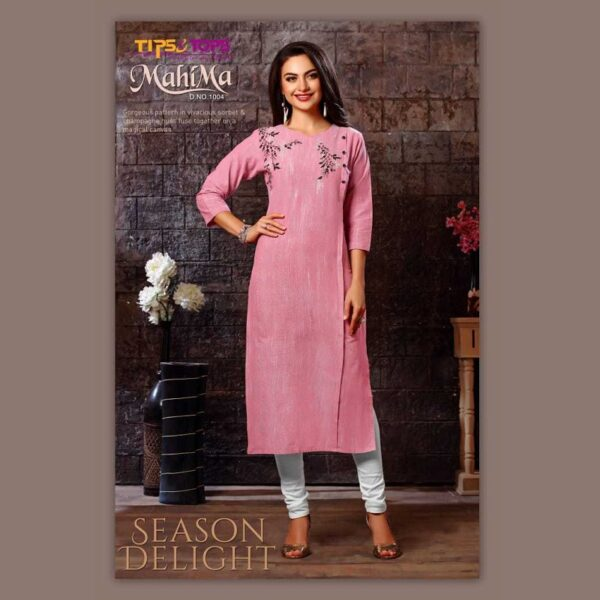 Tips & Tops Cotton Yarn Dyed Weaving Fabric Kurtis (Pink)