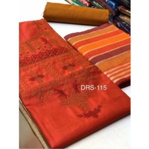 Chanderi Silk Top Dress Material-Maroon