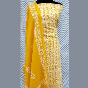 Cotton Self Doriya Batik Top Dress Material-Yellow