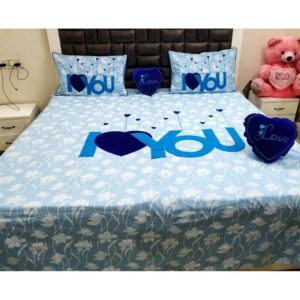 I Love You Double Bedding Set Blue