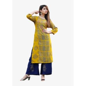 Rayonyellow kurti with adda work and blue plazzo