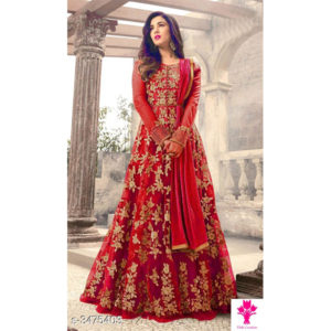 Arya Fancy Mono Net Suits & Dress Materials by Siddhi Fancy Collection Red