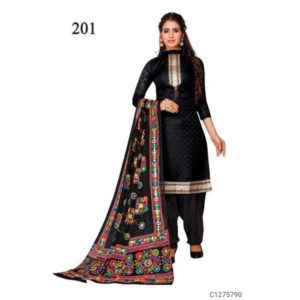 Authentic Cotton Dress Materials Jacquard Work On Top & Embroidered Dupatta By Hafsa Collection (Black)