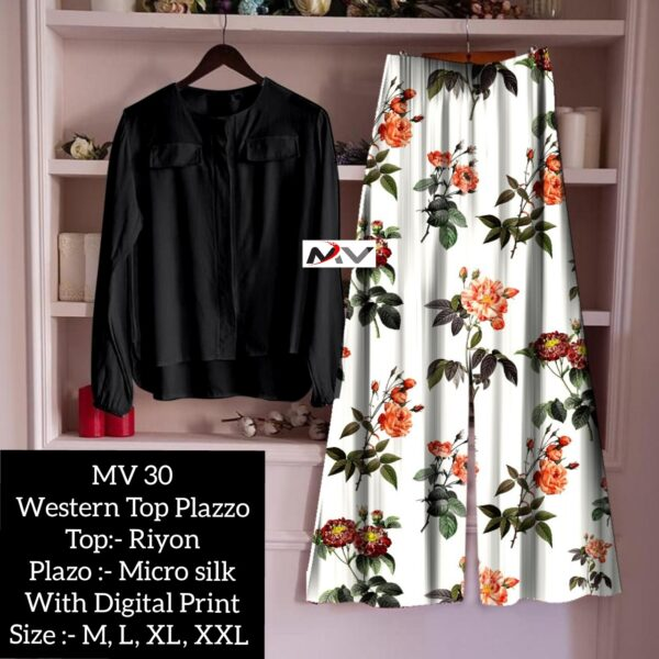 Beautiful Rayon Printed Top And Palazzo For Women By Good Quality World(black11)