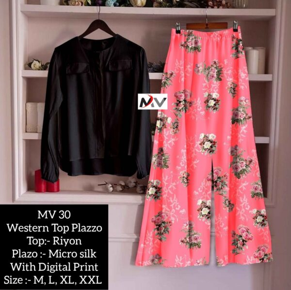 Beautiful Rayon Printed Top And Palazzo For Women By Good Quality World(black2)