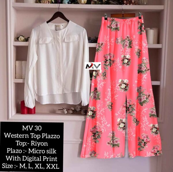 Beautiful Rayon Printed Top And Palazzo For Women By Good Quality World(white2)