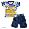 Boys Stylish Clothing Set By Hafsa Collection [White-Blue]