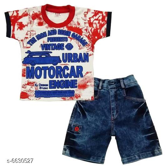Boys Stylish Clothing Set By Hafsa Collection [White-Red]