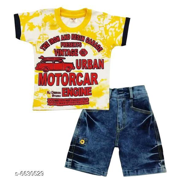 Boys Stylish Clothing Set By Hafsa Collection [White-Yellow]
