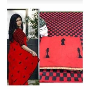 Heavy Chanderi Saree With Thread Embroidery By Goswami (Red)