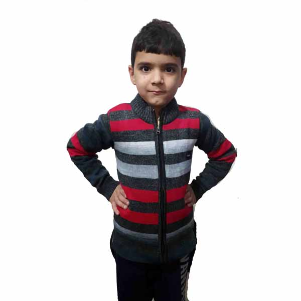 Kids Stripped Sweater By RR Collection (Grey-Red-White)