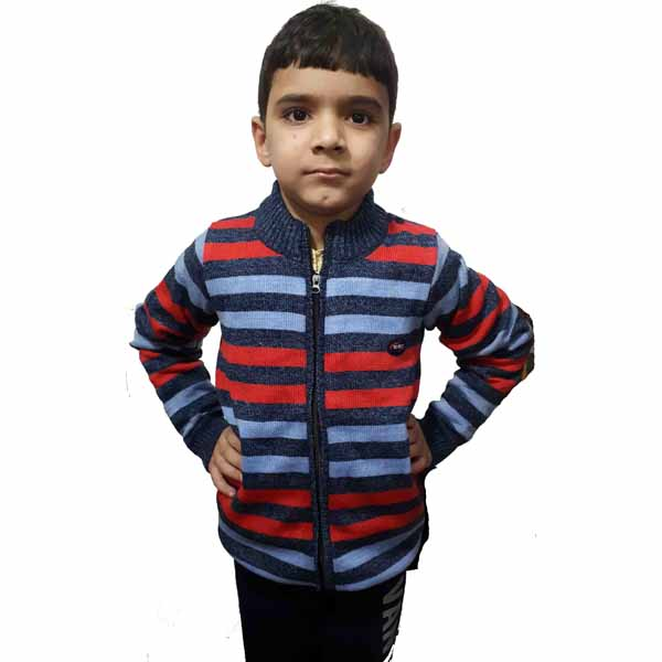Kids Stripped Sweater By RR Collection (Navy Blue-Red)