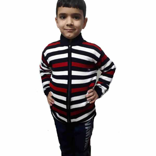 Kids Stripped Sweater By RR Collection (White-Red)