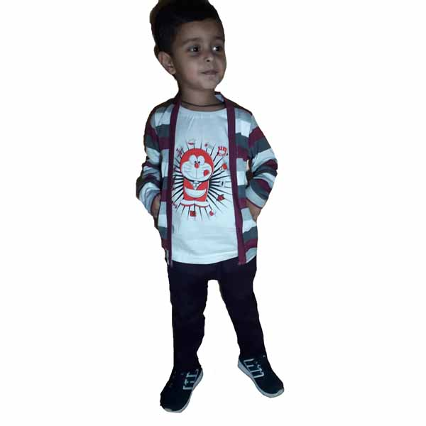 Kids T-shirt Attached With Shrug By RR Collection (Maroon & White)