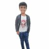 Kids T-shirt Attached With Shrug By RR Collection (White & Grey)