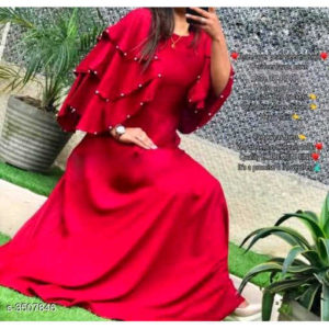 Siya Pure Rayon 14 Kg fashionable Gowns By Hafsa Collection (Dark Red)