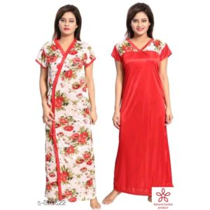 Womens Flare Satin Nightwears(Red)