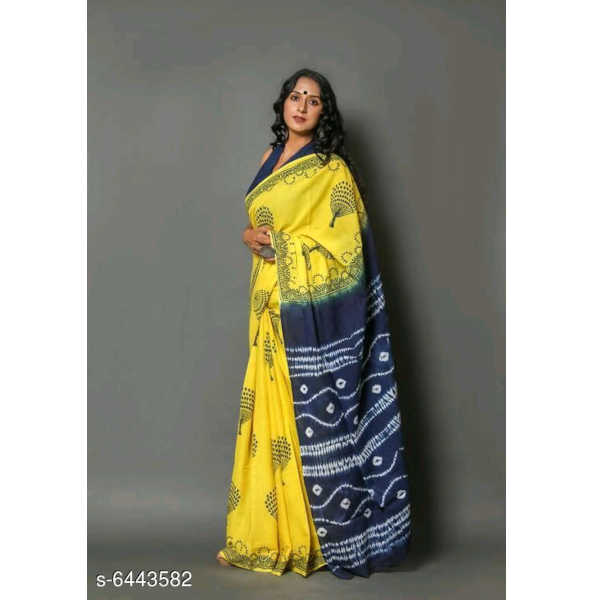 Aagyeyi Fashionable Sarees By Ayan Style (Dark Blue, Yellow)