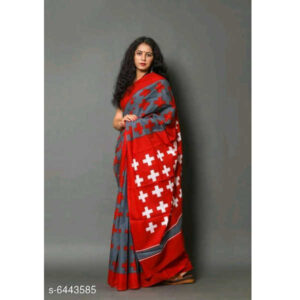 Aagyeyi Fashionable Sarees By Ayan Style (Dark Grey, Red)