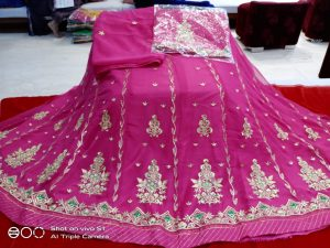 Beautiful Half Pure Poshak For Women By Good Quality World (dark pink)