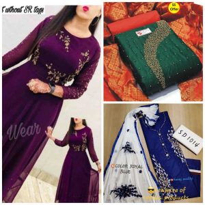 Best Combo Offer Top & Bottom Sets With Party Wear Gown By Radha Rani Fashion (Dark Purple)