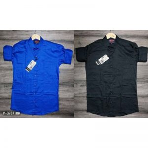 Buy 1 Get 1 Free Men's Regular Fit Cotton Solid Casual Shirts By Sanapari Clothing (Blue, Black)