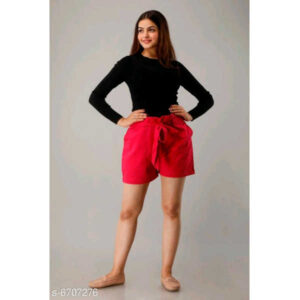 Fashionable Glamorous Women Cotton Shorts By Ayan Style (Red)