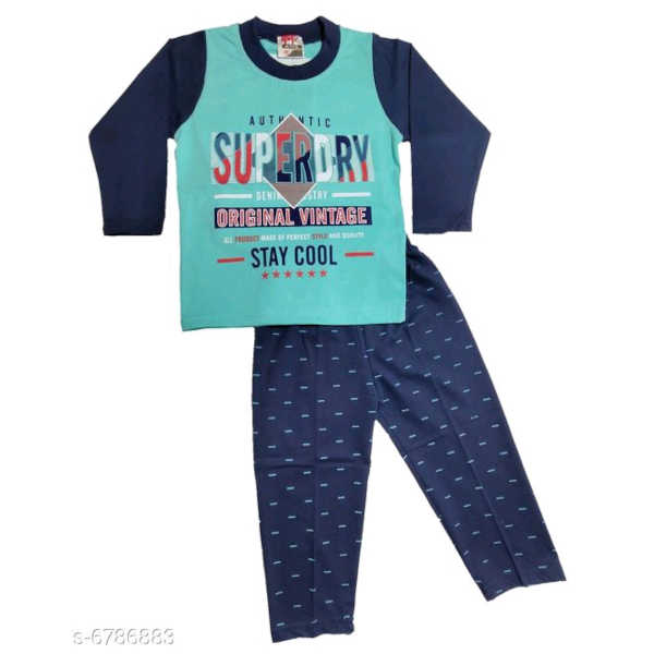 Princess Trendy Boys Top & Bottom Sets By Hafsa Collection (Sea Blue 2)
