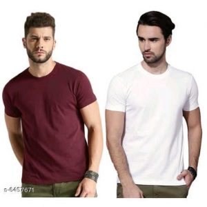 Stylish Men Solid Polyster T-Shirt Combo By Hafsa Collection (Brown , White)
