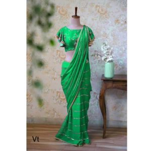 VT Brand 613 Designer Saree With Blouse By Khusi Fashion (Green)