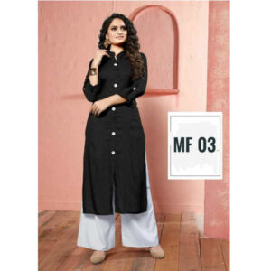 14 Kg Heavy Rayon Kurti With Palazzo Sets By Indy Beauty (Black)