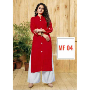 14 Kg Heavy Rayon Kurti With Palazzo Sets By Indy Beauty (Red)