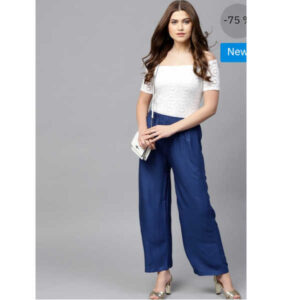 14 Kg Rayon Plain Palazzo By Indy Beauty (Blue)