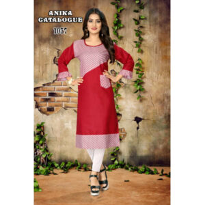 Anika Designer New Digital Printed Cotton Kurtis Collection By RMS Fashion (Dark Red)