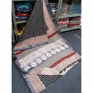 Bagru Hand Block Printed Linen Saree By Sew In Style (Black2)