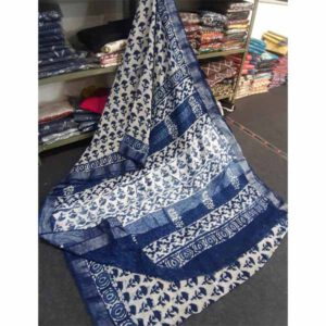 Bagru Hand Block Printed Linen Saree By Sew In Style (Blue2)