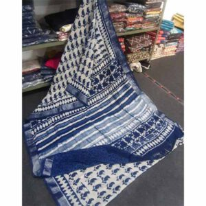 Bagru Hand Block Printed Linen Saree By Sew In Style (Blue3)