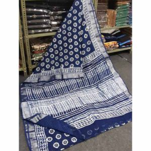 Bagru Hand Block Printed Linen Saree By Sew In Style (Blue4)
