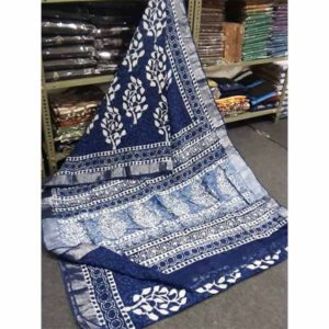 Bagru Hand Block Printed Linen Saree By Sew In Style