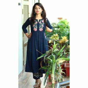 Beautiful Full Sleeves Embroidery Rayon Kurti With Pant For Women By Best Variety (Dark Blue)