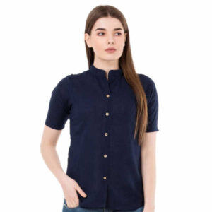 Beautiful Shirt Type Western Cotton Top For Women By Indy Beauty (Black)