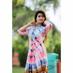 Beautiful Three Fourth Sleeves Cotton Salab Gown Kurti For Women By Best Variety Peach
