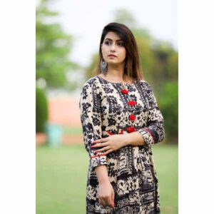Beautiful Three Fourth Sleeves Cotton Salab Gown Kurti For Women By Best Variety (Tan))