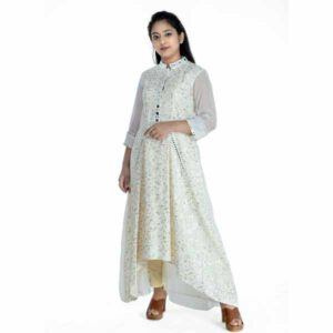 Cotton Abstract Kurti With Sequence & Mirror Work By Horizon D Stylathon (Cream)