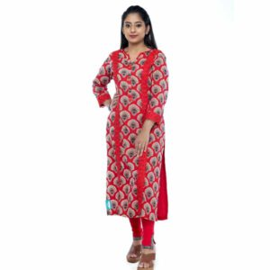 Cotton Straight Kurti With Abstract Print & Lace Work By Horizon D Stylathon (Red)